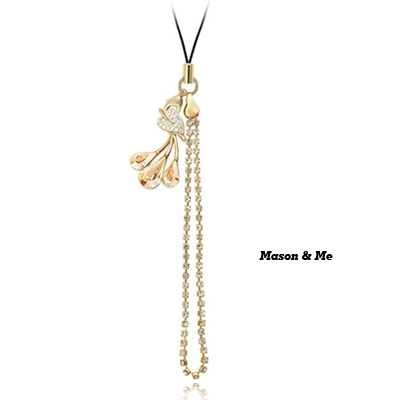 (Golden champagne) Luxury romantic Austrian crystals mobile bag chain-Leaves profusion