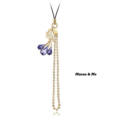 (Pale pinkish purple) Luxury romantic Austrian crystals mobile bag chain-Leaves profusion