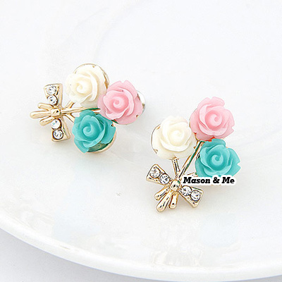 Korean elegant exquisite fashion colour flower decorated with rhinestones studs earrings