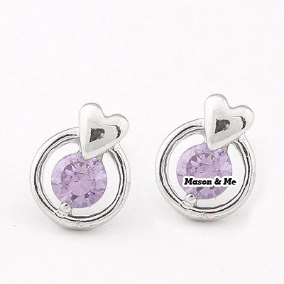 Korean exquisite fashion perfect heart decorated with rhinestones charm design studs earrings (Anti-allergy)