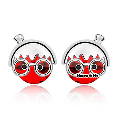 (light red) New Cute Decorated with Rhinestone Chibi Maruko chan design Stud Earrings