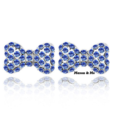 (blue) New Cute Fashion Decorated with Rhinestone bow Stud Earrings