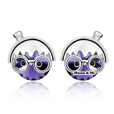 (Pale pinkish purple) New Cute Decorated with Rhinestone Chibi Maruko chan design Stud Earrings