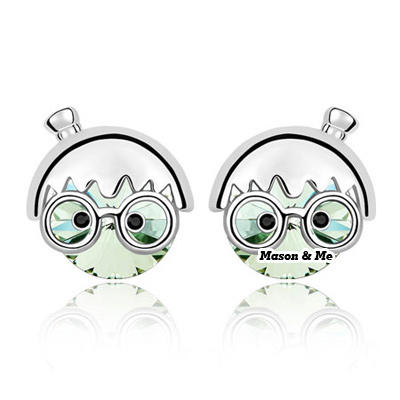 (olive) New Cute Decorated with Rhinestone Chibi Maruko chan design Stud Earrings