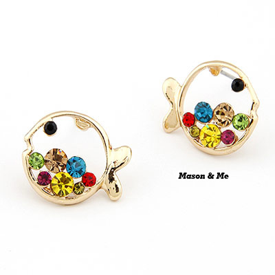 Korean lovely fashion cartoon fish decorated with colour rhinestones charm design studs earrings