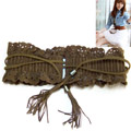 Japanese pear flowers hollow fringed elastic belt straps over the United States