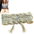 (Milan) Japan hollow pear flowers fringed elastic belt straps over the United States