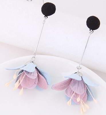 Anting Tusuk Fur PomPom Flower Earrings