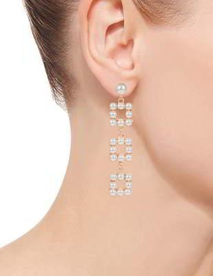 Anting Tusuk Minimalist Pearls Square Shape Earrings