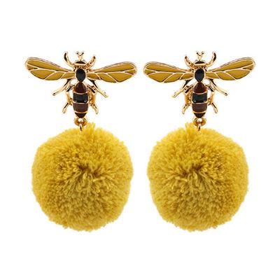 bee shape pom earrings