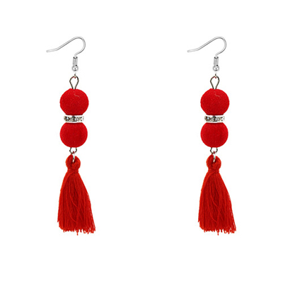 fuzzy ball tassel earrings
