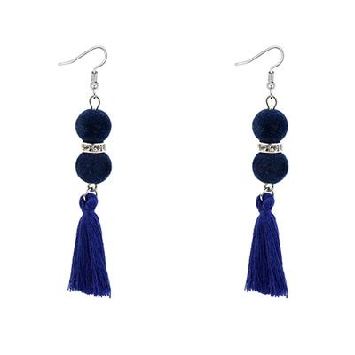 fuzzy ball tassel earrings