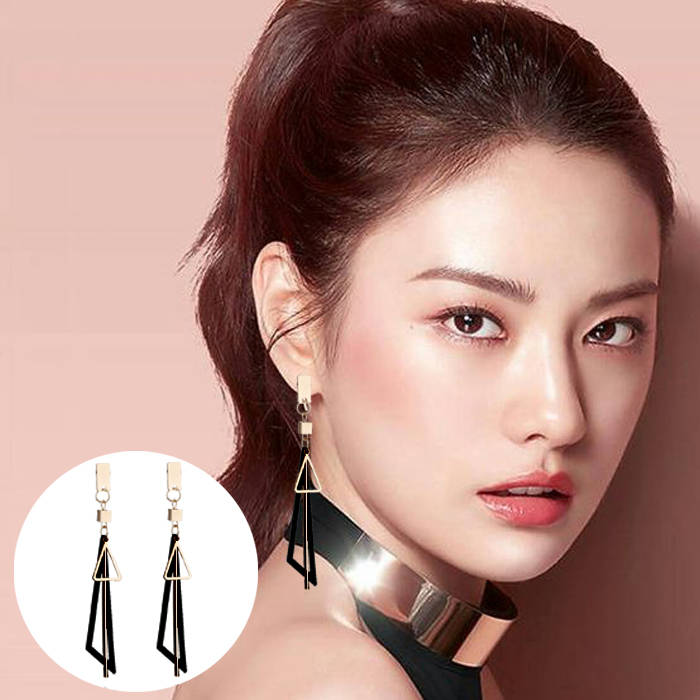 Anting Korea Korea Simple Long Geometric Triangle Tassel Earrings Earrings Metal Strips Earrings