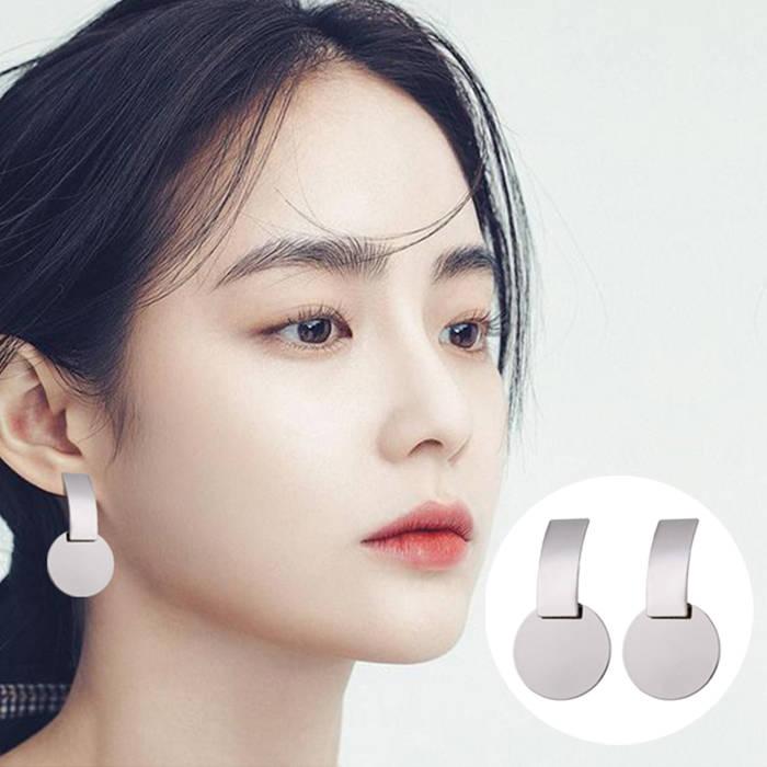 Anting Korea Metal Strip Double Round Earrings Earrings Generous Earrings
