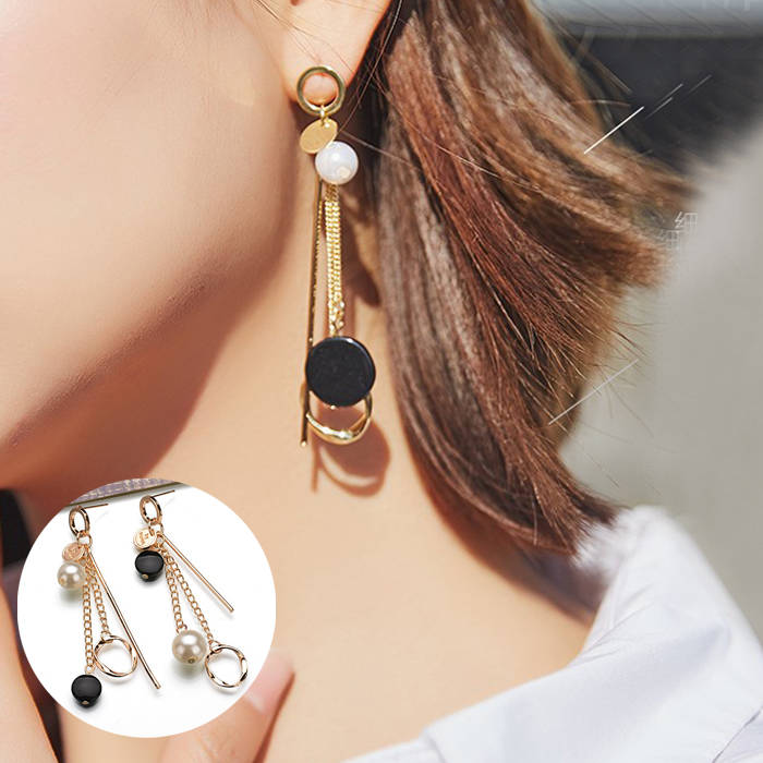 Anting Korea Fashion Long Chain Round Ear Jewelry