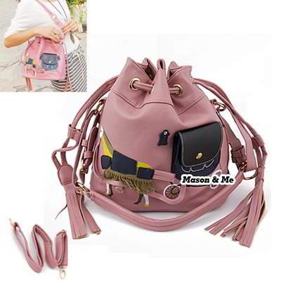 (Pink) Korean woman casual fashion zebra pattern handbag tote shoulder bag