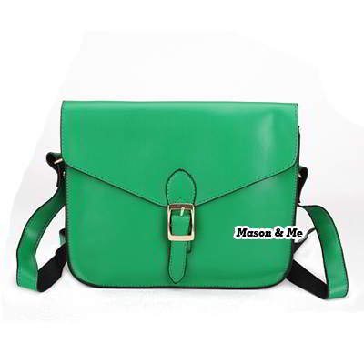 Green color classical style mail crossbody bag