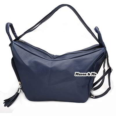 (Dark blue) Korean woman fashion PU leather satchel tote shoulder travelling bag
