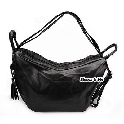 (Black) Korean woman fashion PU leather satchel tote shoulder travelling bag