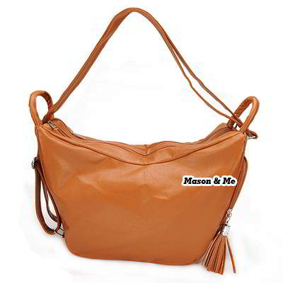 (Brown) Korean woman fashion PU leather satchel tote shoulder travelling bag