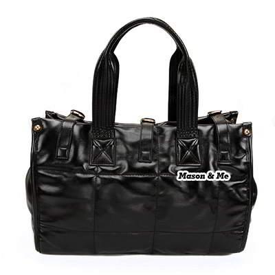 (Black) Korean woman classic fashion buckle big Minimal Design handbag shoulder bag