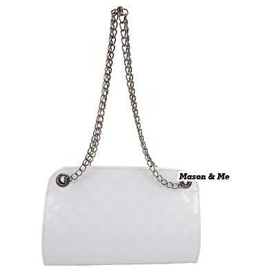 (White) Korean woman sweet fashion candy color chain shoulder belt charm design handbag shoulder bag