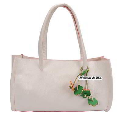 (White) Korean woman sweet fashion pure colour charm design handbag shoulder bag