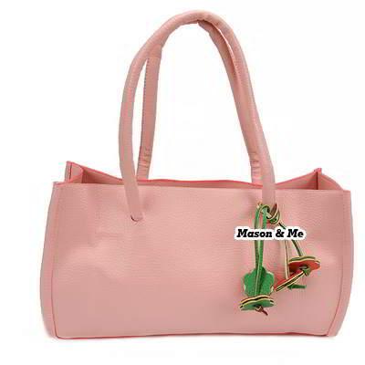(Pink) Korean woman sweet fashion pure colour charm design handbag shoulder bag