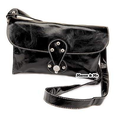 (Black) Korean woman stylish fashion horizontal style pur color pu leather shoulder bag handbag