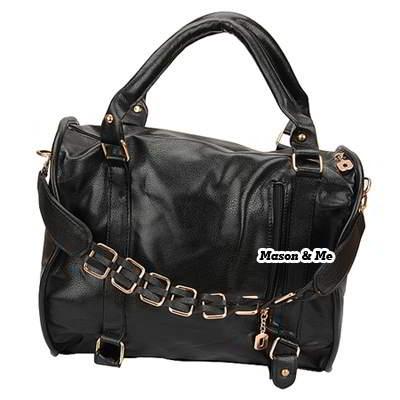 Korean persoanlity fashion pur color pu leather charm design shoulder bag handbag