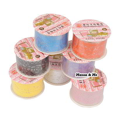 (1pcs price) DIY waterproof diary larger lace decoration adhesive sticker tape (color will be random)