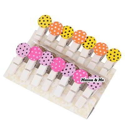 (1bag price) Korean sweet personality fashion round dot design wood clip+rope