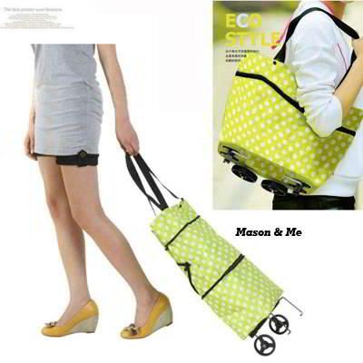24K Green Dot Pattern Fold Design Cloth Handbags