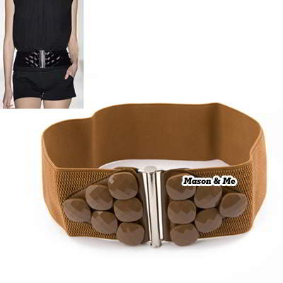 (Brown) Large stones elastic waistband