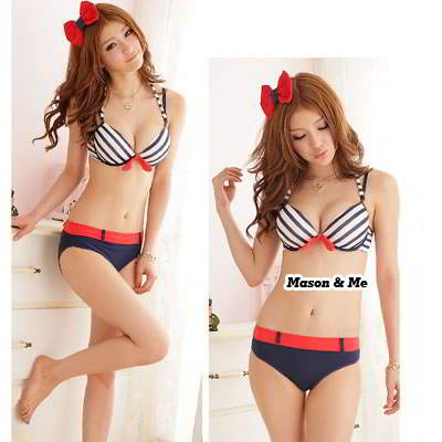 (Blue) Korean hot lovely fashion summer beach round neck charm design bra and panty set