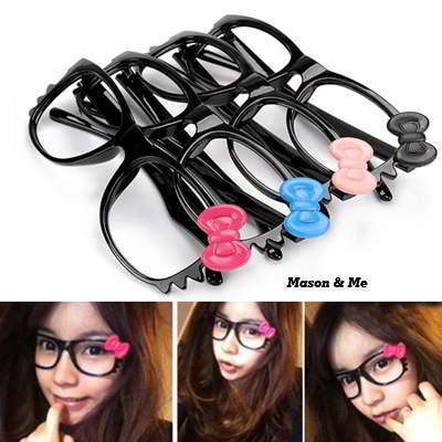 New fashion sweet lovely kittly bow tie big frame charm plane lens glasses frame (without lens)