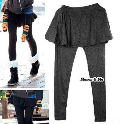 (Grey) korean woman fashion pleated sewing fake two piece bloom boomboom leggings render skirts pants