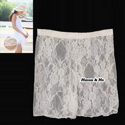 (White) Korean Woman Fashion Lace Comfortable Pants Prevent Exposed Leggings Safely Three Shorts Pants
