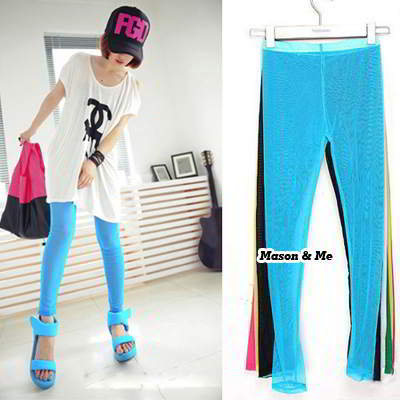 Korean woman fashion candy color elastic hollow out gauze bloom boomboom leggings render pants