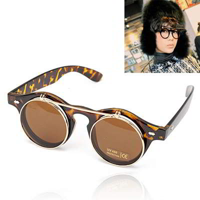 Korean personality fashion double layer lens design sunglasses (Leopard) tutul forever21