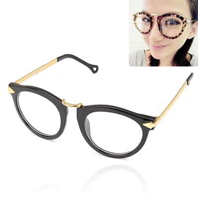 Korean vintage personality fashion arrows design plain glasses (with lens) (Black Frame+Gold Color Arrow) Forever21