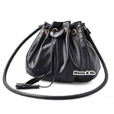 (Black) Korean woman casual fashion drawstring rope tassels design aslant bag handbag
