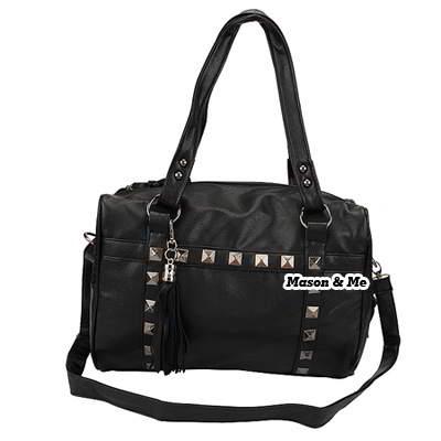 (Black) Korean fashion horizontal rivet charm design shoulder bag handbag