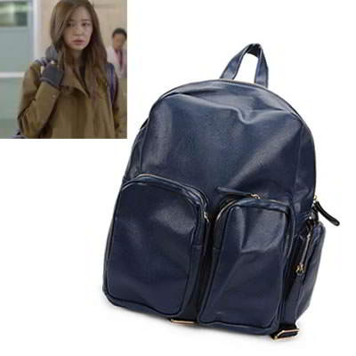 Korean personality fashion pu leather multi pocket design backpack bag (Blue)