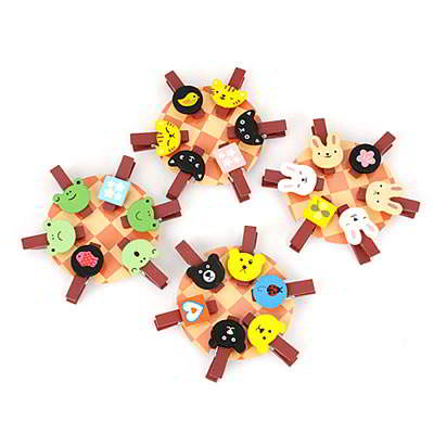Korean lovely fashion cartoon design paper photo wood clip (Color will br random)
