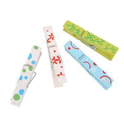 Korean creativity fashion flower pattern design paper photo wood clip (12pcs)