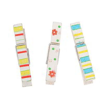 Korean creativity fashion flower stripe pattern paper photo wood clip 12pcs