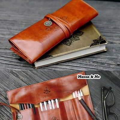 Korean vintage fashion pencil case bags