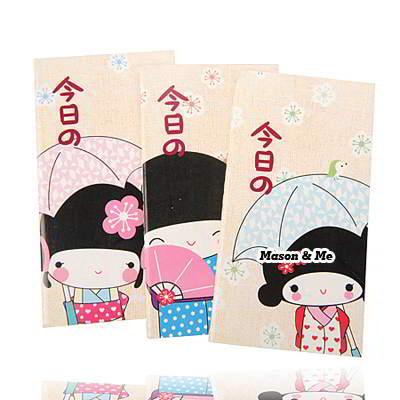 Korean lovely cartoon kimono girl pattern notepad notebook Color will be random(1pcs price)
