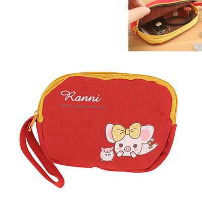 Korean cartoon fashion lovely pig patter double zipper wallet purse (Red)